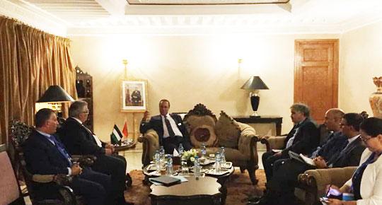 م. غنيم يلتقي نظيره المغربي ويبحث أفق التعاون بين البلدين في المجال المائي